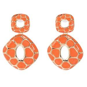 NWT Gold Orange Geometric Retro Drop Earrings